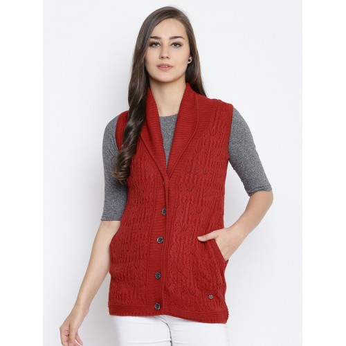 Monte Carlo Women Red Self,Design Sleeveless Cardigan