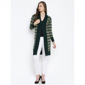 Monte Carlo Women Green & Yellow Self-Design Longline Cardigan