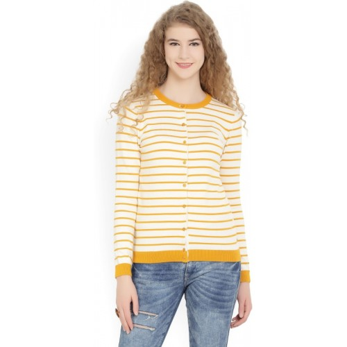 United Colors of Benetton Yellow And White Striped Round Neck Casual Pullover