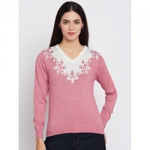 Monte Carlo Women Pink & Off-White Self Design Sweater