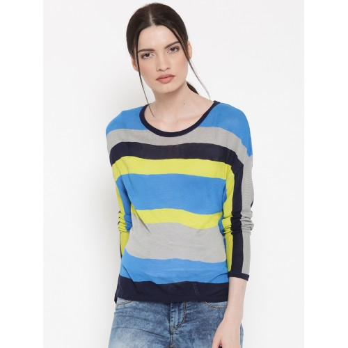 Buy United Colors of Benetton Women Multicoloured Striped Sweater ... 1a63bfdce