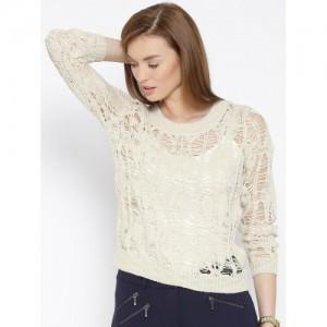 Vero Moda Beige Open Knit Sweater