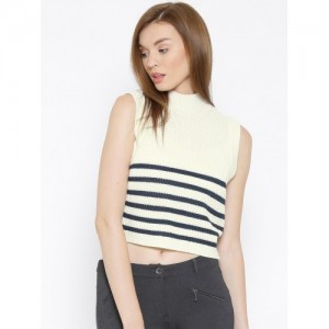 Vero Moda Off-White & Navy Striped Crop Sweater