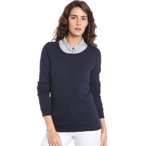 825a704d811 Buy Vero Moda Women Navy Blue Self Design Pullover online