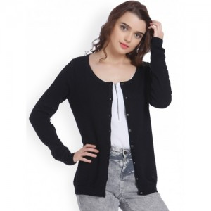 Vero Moda Women Black Solid Cardigan