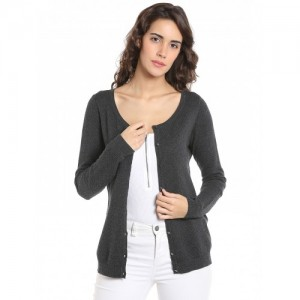 Vero Moda Women Charcoal Grey Solid Cardigan