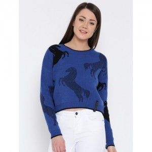 Vero Moda Blue Viscose Polyester Patterned Sweater