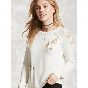 FOREVER 21 Women Off-White Distressed Sweater