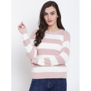 FOREVER 21 Women Dusty Pink & White Striped Sweater