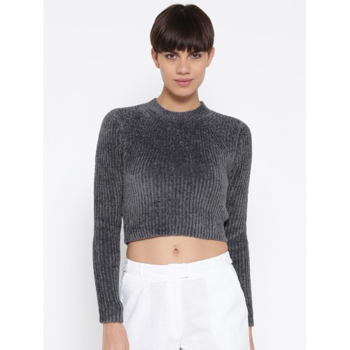 226da1af49c5be Buy FOREVER 21 Women Charcoal Grey Ribbed Cropped Sweater ...