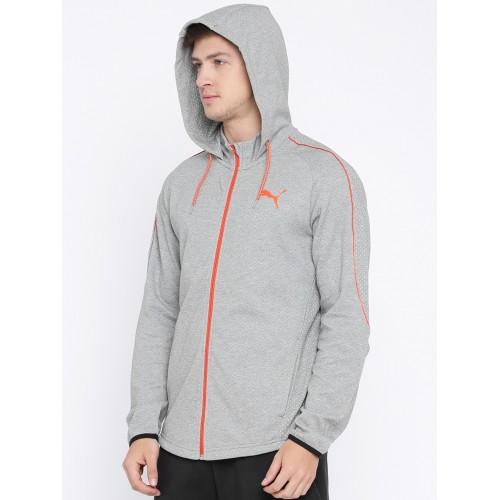3b6a420f Buy Puma Men Grey Solid Evostripe Lite FZ Hooded Sporty Jacket ...