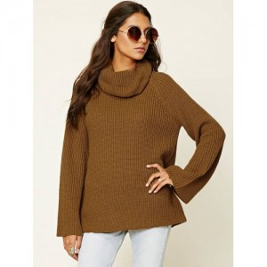 FOREVER 21 Women Mustard Brown Ribbed Sweater