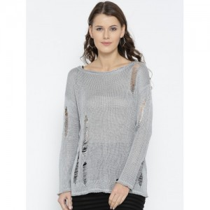 FOREVER 21 Women Silver Solid Distressed Pullover