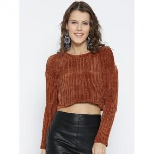FOREVER 21 Women Rust Orange Self-Striped Crop Sweater