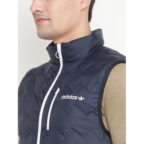 best authentic b7c19 c51f8 Adidas Originals Men Navy SERRATED Vest Solid Quilted Jacket ...