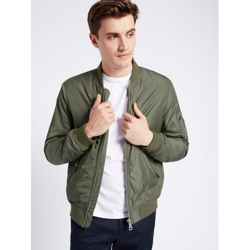 9347a0af9d0 Buy Marks   Spencer Men Olive Green Solid Bomber Jacket online ...