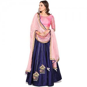 Lehenga Choli Baby Pink & Blue Silk party wear lehenga choli