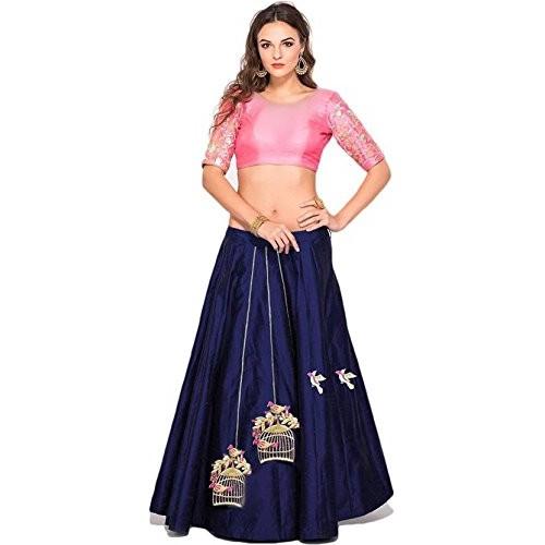 Eyesonme Women's Taffeta Silk Anarkali Gown(Free Size)