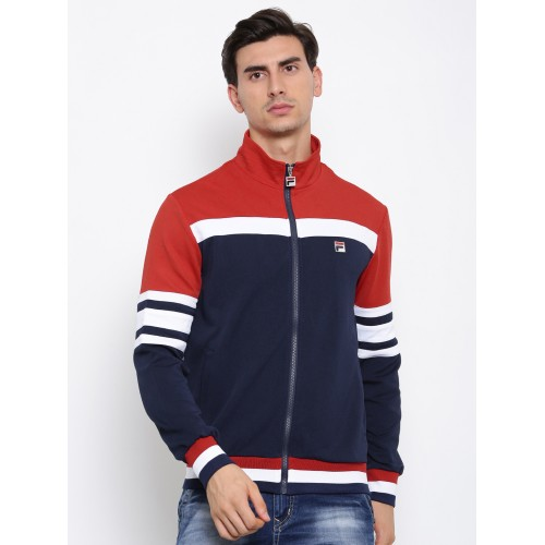 Buy FILA Men Navy   Red Colourblocked Bomber Jacket online ... 6806f216435b