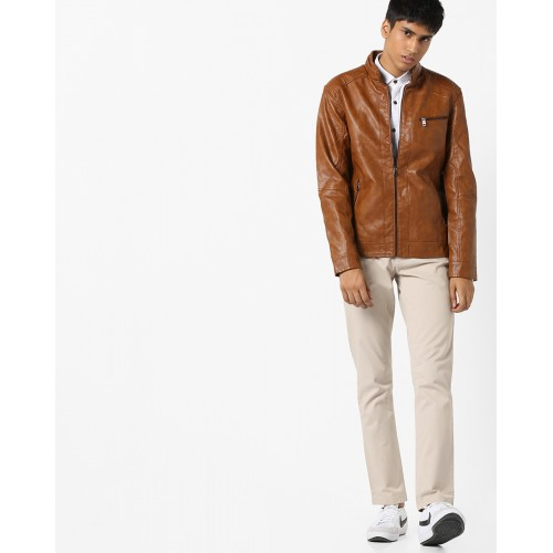 Buy The Indian Garage Co Textured Slim Fit Biker Jackets Online Looksgud In