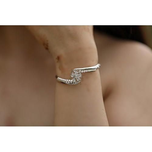 b00aff5e3d291d ... Crunchy Fashion Jewellery Silver Plated Stylish Daily/Party Wear Zircon  Crystal Kada/Cuff Bracelet ...