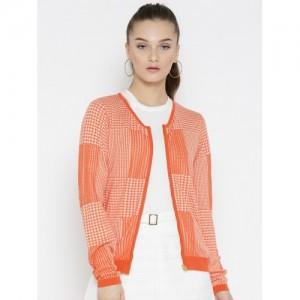 Madame Women Orange & Off-White Self-Design Cardigan