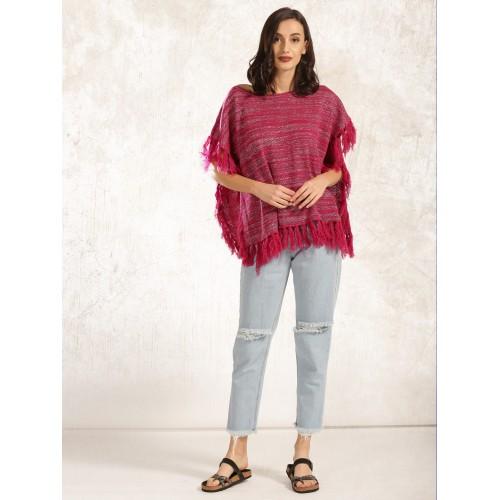 Anouk Women Pink & Silver-Toned Self-Design Poncho Sweater