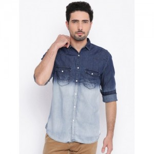 Nature Casuals Blue Slim Fit Solid Casual Shirt