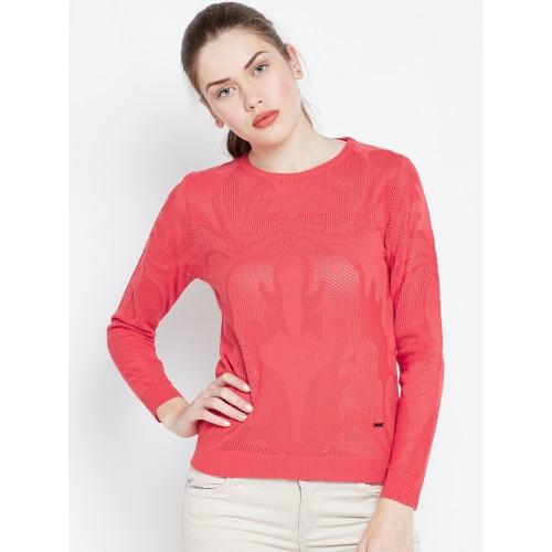 Duke Women Coral Red Self-Design Pullover