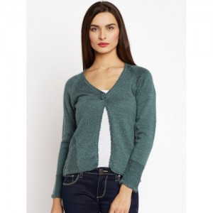 Duke Women Teal Green Solid Cardigan