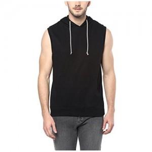 American Crew Black Sleeveless Hoodie T-Shirt