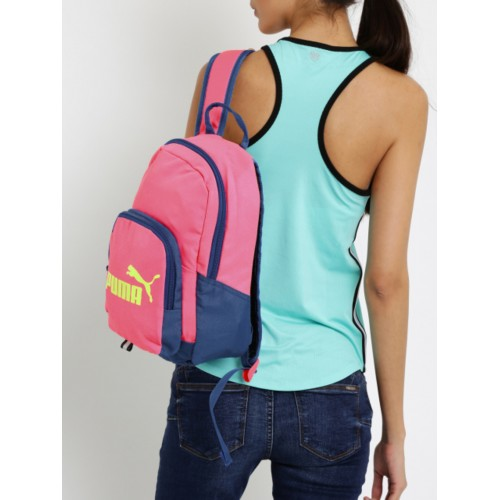 cd37c066c0d9 Buy Puma Women Pink   Blue Phase Small Colourblocked Backpack online ...