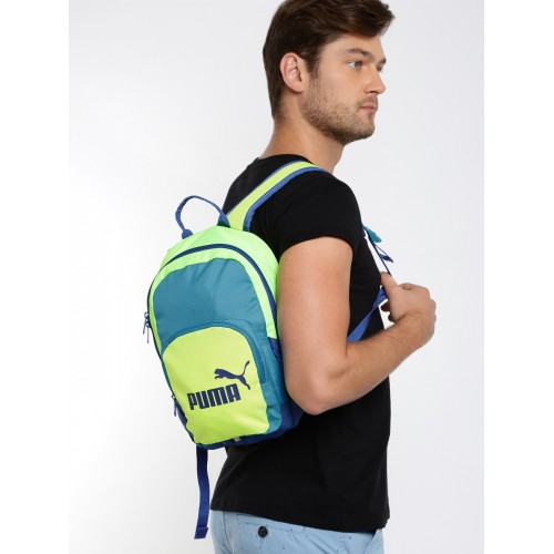 ce0a8dd20267 Buy Puma Unisex Blue   Green Phase Small Colourblocked Backpack ...