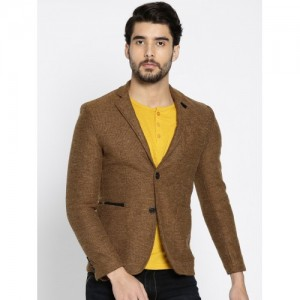 The Indian Garage Co. Brown Single-Breasted Slim Fit Casual Blazer