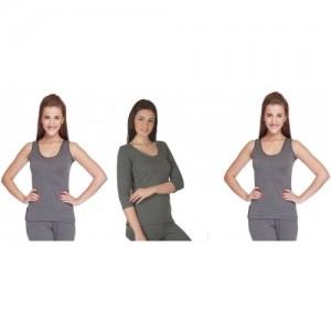 ee6746d559ea16 Buy Jockey Gray Solid Women s Tharmals Top online