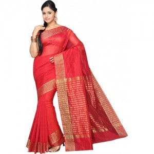 Pavechas Red Solid Banarasi Cotton Silk Saree