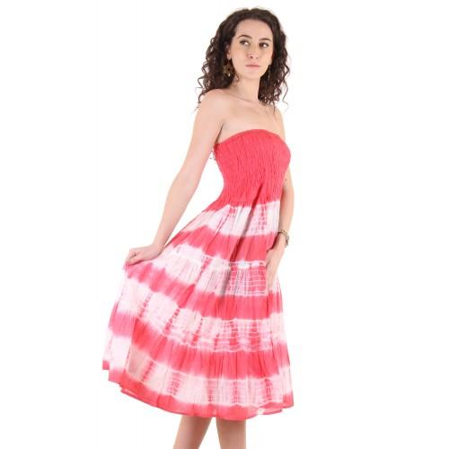 0a070707c7c Buy Ruhaans Pink Cotton Off Shoulder Knee Length Tube Dress ...