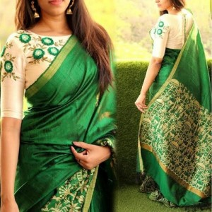 Aarvicouture Cotton Silk Saree With Blouse Piece (Ac-Sr-1002_Beige_Free Size)