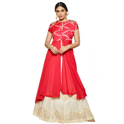 dc16ee43e3 Isha Enterprise Red & White Chanderi Cotton Indo Western Wear Lehenga