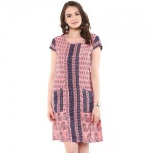Pink Paisley print border indo western dress