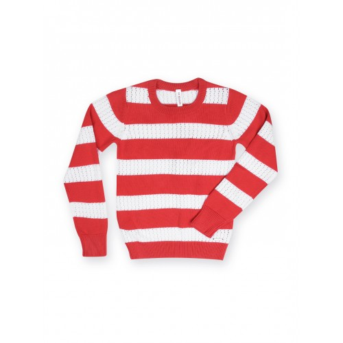 e08c1265a5c6f Buy U.S. Polo Assn. Kids Girls Red   White Striped Sweater online ...