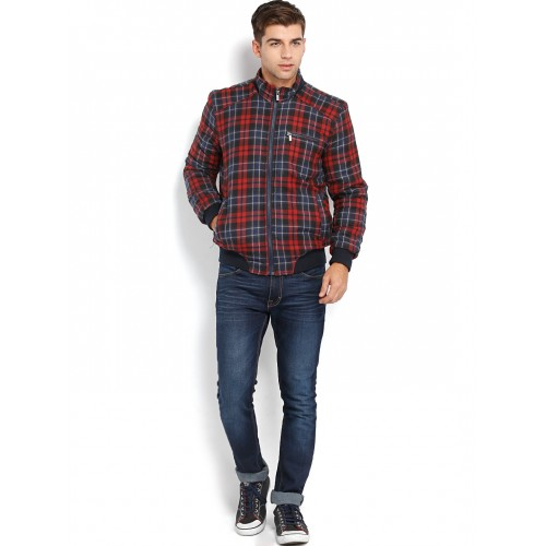 Peter England Men Navy & Red Checked Padded Jacket