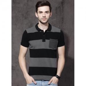 Roadster Charcoal Grey & Black Striped Polo T-Shirt