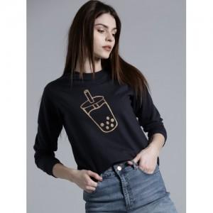 Kook N Keech Women Navy Blue Printed Sweatshirt