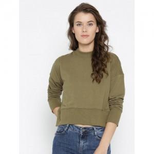 FOREVER 21 Women Olive Green Solid Sweatshirt
