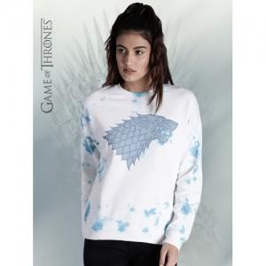 Game of Thrones by Kook N Keech Women White & Blue Printed Sweatshirt