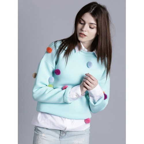 Kook N Keech Women Blue Solid Pom-Pom Detail Sweatshirt