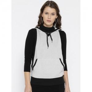 FOREVER 21 Women Grey Solid Hooded Sweatshirt