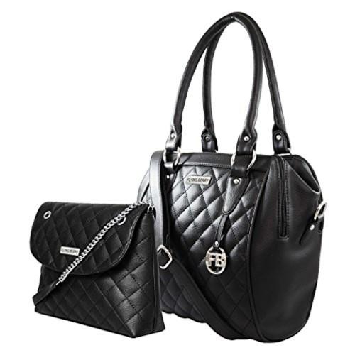 Flying Berry Black Leather Checked Handbag Combo