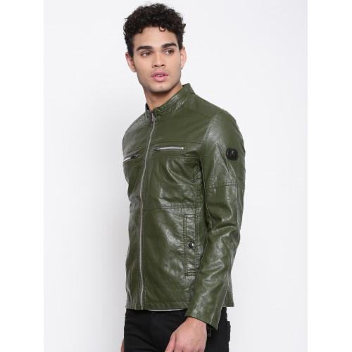 Buy The Indian Garage Co Men Olive Green Solid Biker Jacket Online Looksgud In